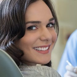 A female patient in the dentist chair