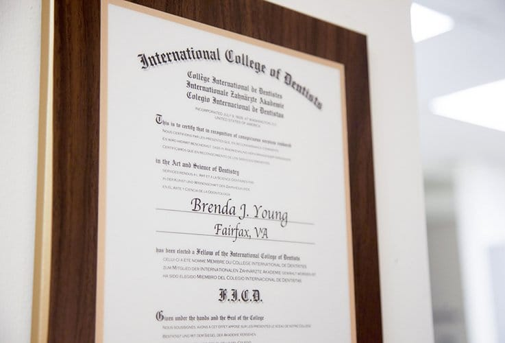 International College of Dentists certificate